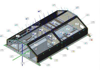 ... te prikazom mjernih točaka na konstrukciji i devijacijom u odnosu na CAD.